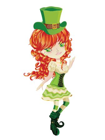 Cute cartoon smiling leprechaun girl with red curly hair.