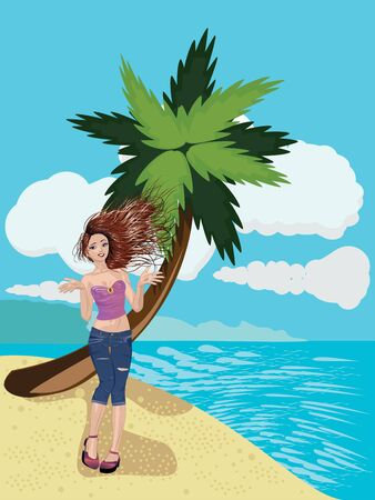 casual fashion: Casual fashion girl on the beach at sunny day. Illustration