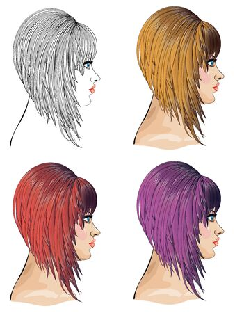 bob: Woman with bob hair in different colors, fashion illustration.