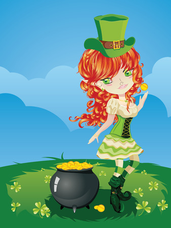 Pretty leprechaun girl on grass field, St. Patricks Day illustration. Vector