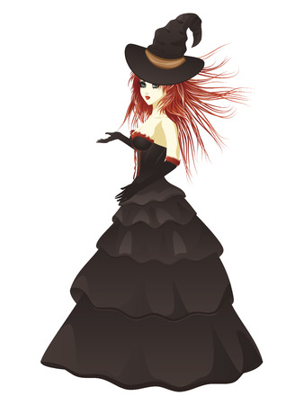 voluptuous: Red haired witch in long black dress.