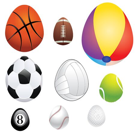 individual sports: Abstract sport balls in a shape of an egg. Illustration
