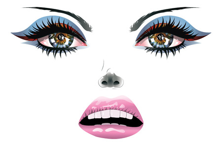Female beauty face with blue eyes and pink lips.