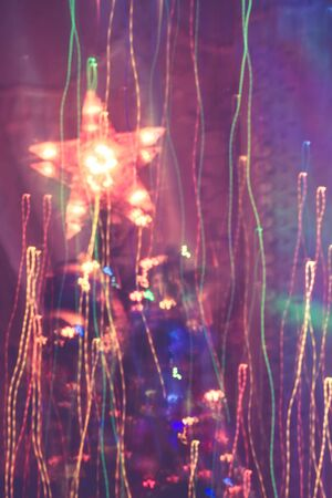 Colorful lights blurred in motion as abstract background. photo