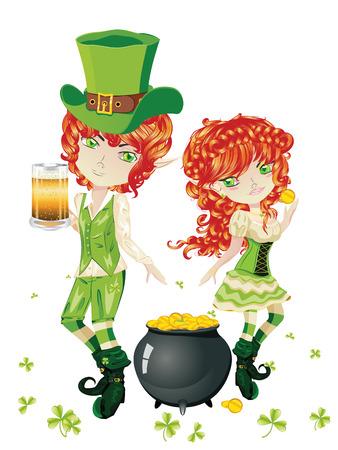 leprechaun girl: Cartoon leprechaun boy and girl with treasure pot on a grass field.