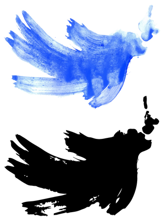 paint strokes: Watercolor paint strokes of bright blue color on white background. Illustration