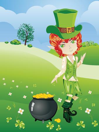 irish landscape: Cartoon leprechaun boy with treasure pot on a grass field. Illustration
