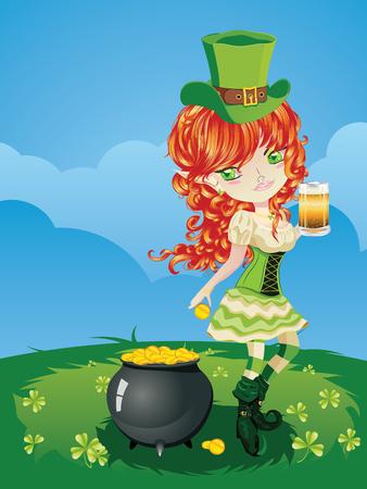 speelveld gras: Pretty kabouter meisje op het gras veld, St. Patrick's Day illustratie. Stock Illustratie