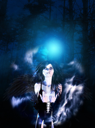 fallen angel: Mysterious night forest and black fallen angel.