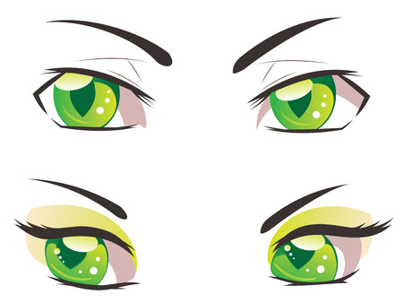 manga style: Male and female eyes of green color in manga style.