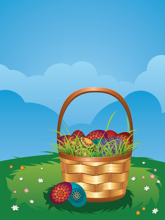 grass weave: Wicker Easter basket with colorful eggs on green lawn. Illustration