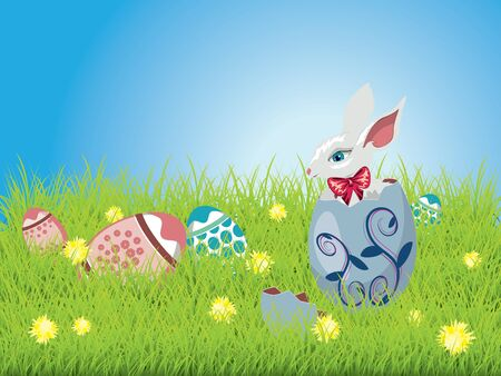 Cute Easter bunny sitting inside a colorful cracked egg on grass field background. Vector