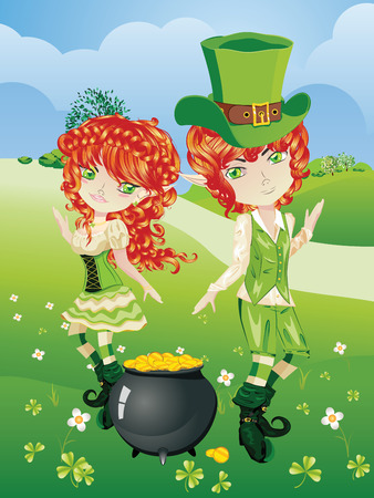 Cartoon leprechaun boy and girl with treasure pot on a grass field. Stock Vector - 39051464