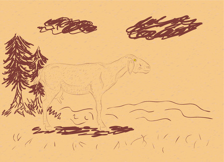 milker: Cartoon sheep and rural landscape in hand drawn style on paper background.