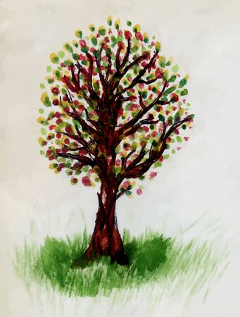 leafless: Grunge sketch of leafless tree on paper background. Illustration