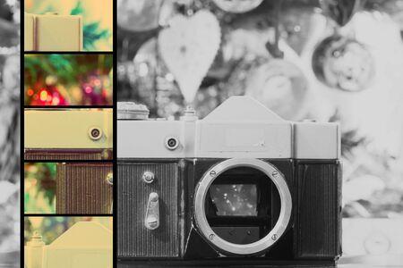 lense: Christmas decorations background with retro camera without lense, retro photo effect.