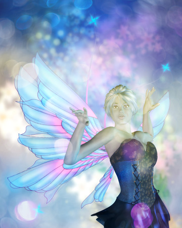 butterfly myth: Fantasy illustration with fairy on colorful background with bokeh lights.