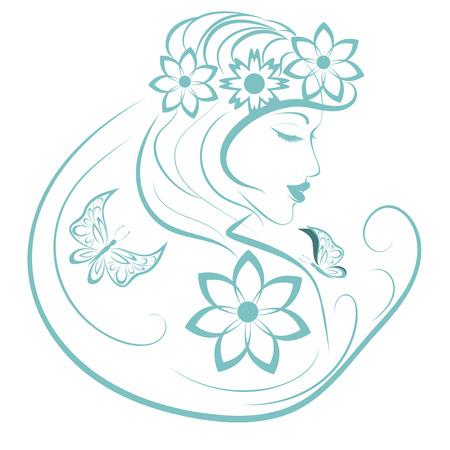 Femme stylisé avec papillon et des fleurs, illustration linéaire Banque d'images - 39222483