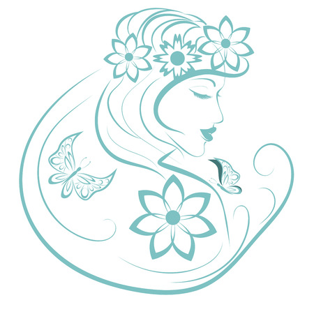 Stylized woman with butterfly and flowers, linear illustration