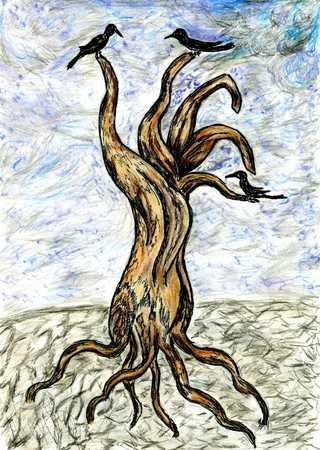 dead tree: Grunge sketch of a stylized dead tree, hand drawn illustration.