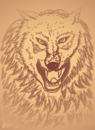 howl: Grunge sketch of an abstract wolf, hand drawn illustration.