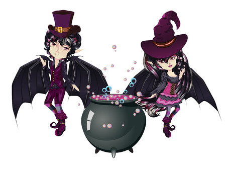 Cute cartoon vampire boy and witch in anime, manga style.