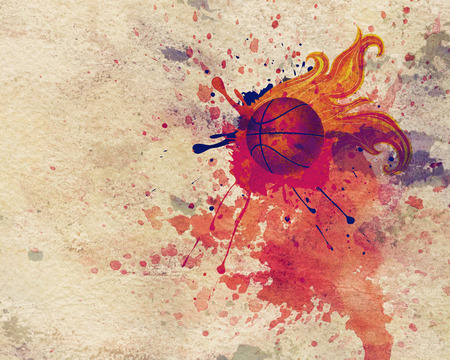 spatters: Grunge background with basketball ball with flame and spatters.