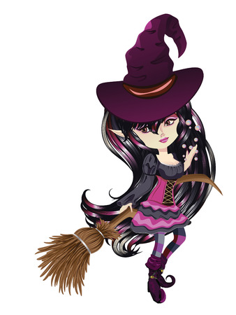 manga style: Cute cartoon witch with broom in anime, manga style.