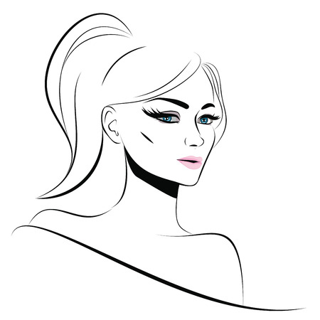 coiffure: Fashion girl portrait in simple line art style.
