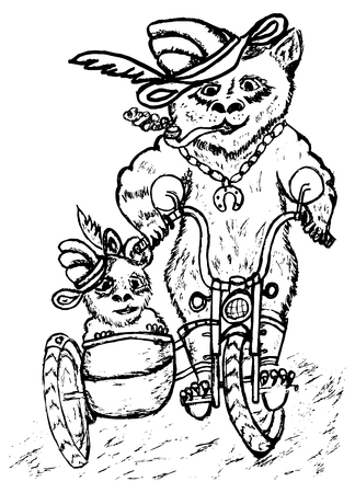 Grunge sketch of two pandas on motorcycle, hand drawn illustration. Vector