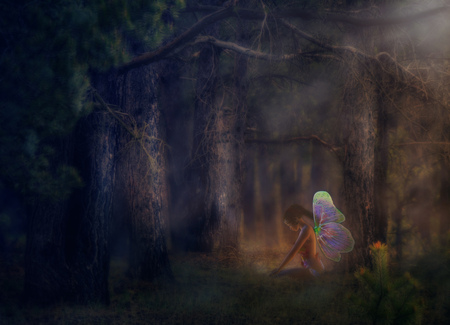 magical forest: Illustration of a 3d fairy girl in a magical forest. Stock Photo