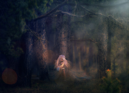 nymph: Illustration of 3d rendered woman with long white hair in dark forest.