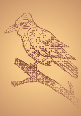 Grunge hand drawn illustration of a big crow sitting on a branch. Vector