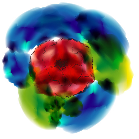 botanics: Big bright red poppy flower, digital watercolor effect made with gradient mesh.