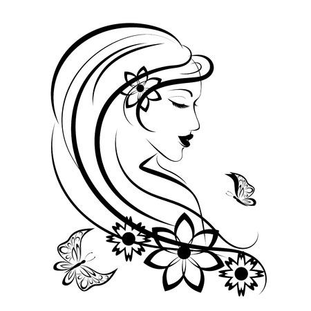cabeza de mujer: Mujer estilizada con mariposas y flores, ilustración lineal Vectores