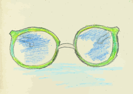 see a doctor: Colorful sketch of stylized sunglasses, hand drawn illustration.
