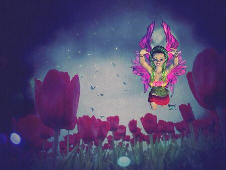 dream land: Dream fairy in fantasy land with bright red tulips at night time.