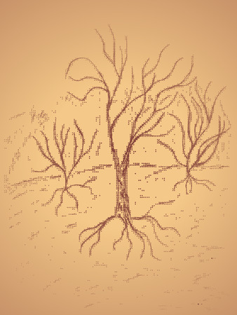 sketched shapes: Grunge sketch of a stylized dead tree, hand drawn illustration.
