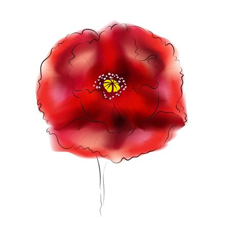 gradient mesh: Big bright red poppy flower, digital watercolor effect made with gradient mesh.