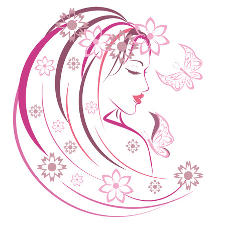 animal sexy: Stylized woman with butterfly and flowers, linear illustration