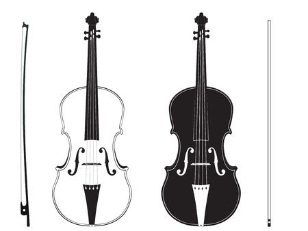 白地バイオリン スティック シルエットとクラシック音楽のヴァイオリン。