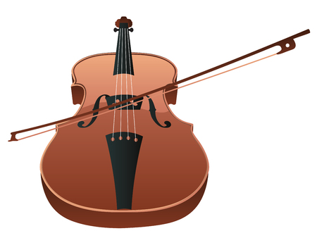 Classic violin with fiddle stick on white background.