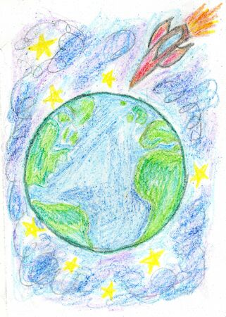 Stylized hand drawn style Earth planet with stars. photo