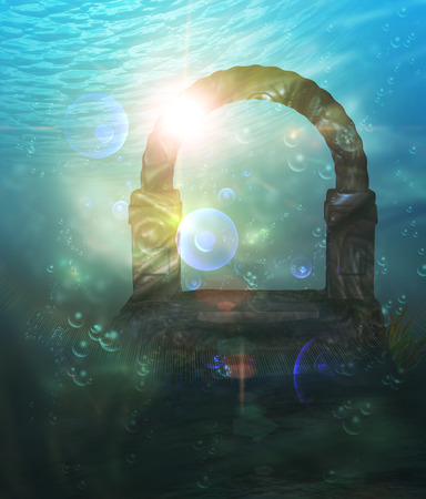 ruins: Abstract surreal underwater landscape with ancient ruins.