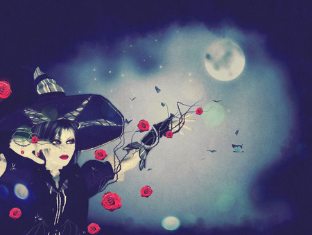 conjuring: Halloween background with witch woman conjuring at night.