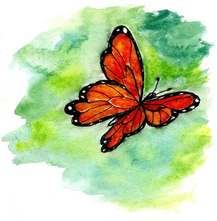 butterfly in hand: Watercolor of the bright butterfly, hand drawn illustration.