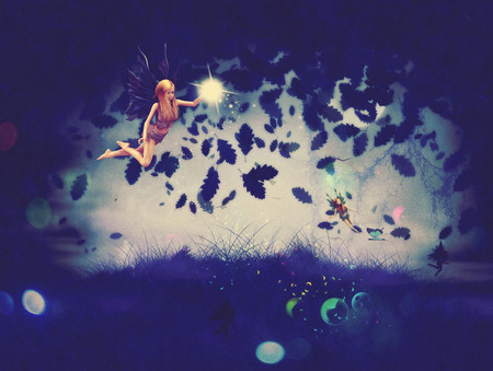 Cute fairy with magic sparkling dust flying at night time.