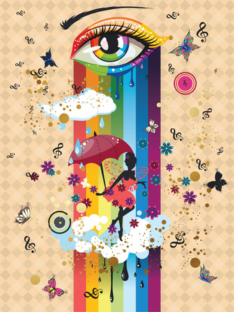 rainbow umbrella: Abstract eye in rainbow colors and fairy silhouette with red umbrella.
