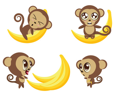 cuddle: Set of cartoon funny monkeys with big banana in different expressions and poses.