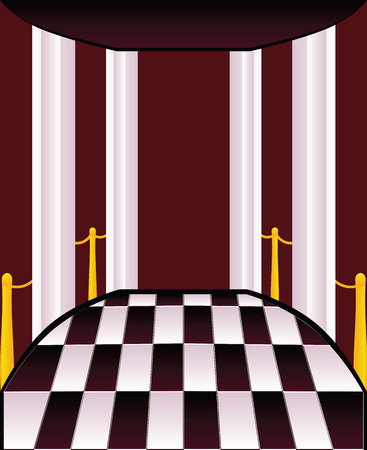 terrace: Abstract terrace with checkered floor and white columns.